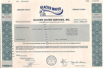 Vintage stock certificate  Glacier Water Services, Inc 1990's Delaware