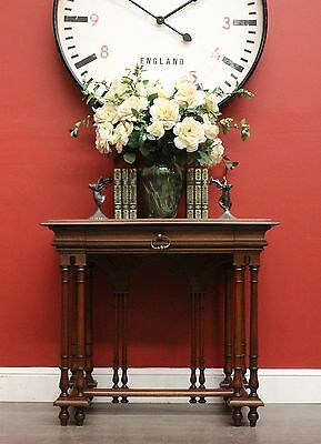 Antique French Walnut 1 Drawer Lamp Hall Foyer Side Table / Bedside Table c1910