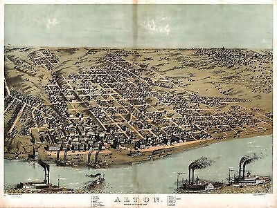 1867 ALTON Madison County panoramic ILLINOIS map GENEALOGY atlas  poster IL 1