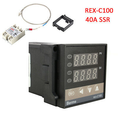 PID REX-C100 Temperature Controller + 40A Solid State Relay + K Thermocouple GD