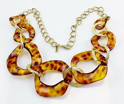 Vintage Signed Marvella Faux Tortoise Shell Necklace Gold Tone Links Chunky Deal