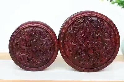 Jewelry box red hard wood Chinese 1 set 2PC rosewood dragon round Trinket Boxes