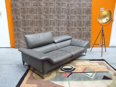 Designer ROCHE BOBOIS Grey Leather 2/3 Seat Sofa Luxury Modern Couch RRP £7,500