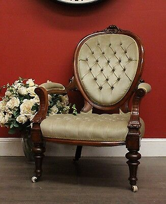 Antique English Walnut Fabric Button Back Grandfather Chair / Library Armchair