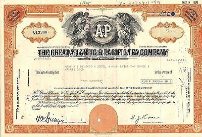 3 different . Stock certificate Great Atlantic & Pacific Tea Company Maryland
