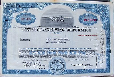 2 different. Stock Certificate Custer Channel Wing Corpor. broker Merrill Lynch