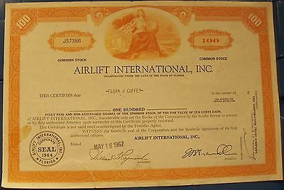 Stock Certificate Airlift International Inc. 1967 Florida 100 shares