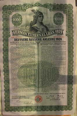 "German bond External ""Dawes Loan"", USA issue. 1924 $1000 cancelled"