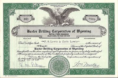 Stock Certificate Baxter Drilling Corporation of Wyoming, 10 shares 1939