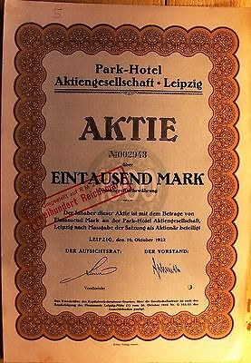 """Leipzig Park-Hotel"" German Bond of 1922 for 1000 Marks"