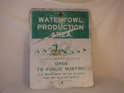 Vintage Waterfowl Production Area Sign Us Dept Of The Interior Fish & Wildlife