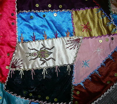 "Antique Crazy Quilt Silk Velvet Fabulous Embroidery Hand Painted 75"" X 69"""