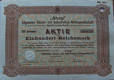 German bond. AHAG General Housing & Industrial Joint-Stock Company dated 1938