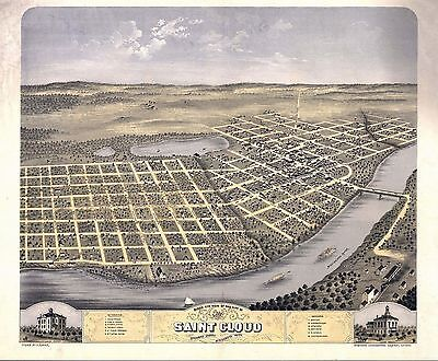 1869 SAINT CLOUD old MINNESOTA map GENEALOGY atlas  poster STEARNS county MN 25