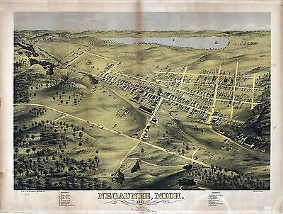 1871 NEGAUNEE old MICHIGAN map GENEALOGY atlas  poster MARQUETTE county MI 12
