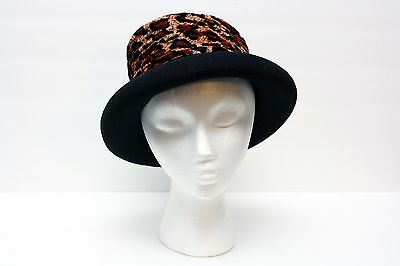 Black Style Wool Felt Hat with Velvet Animal Print Wide Fabric Ribbon One Size