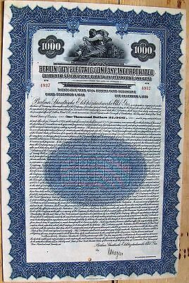 """German Bond """"City of Berlin Electric Company"""". $1000 1926 cancelled"""