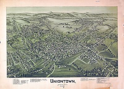 pa194 Antique old map PENNSYLVANIA genealogy family history UNIONTOWN 1897