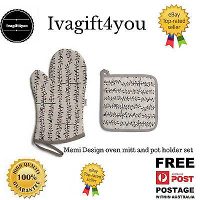 Designer Oven Glove mitt & pot holder Linen Espalier black & Red Memi Designs