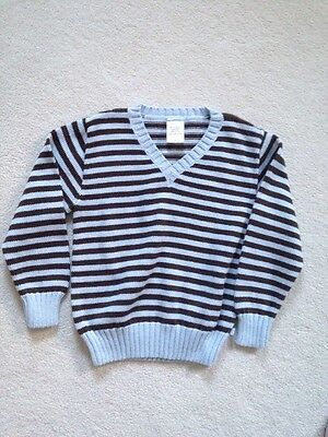 Bella Bliss Boys Fall V-Neck Cotton Pullover Sweater, 7, Blue/Brown Stripes EUC