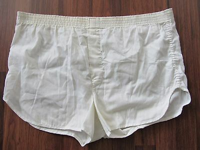 VTG 70's HILLS POLYESTER COTTON WHITE BOXER SHORTS MADE IN THE USA SZ L 36-38