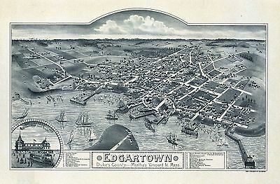 1886  MARTHAS VINEYARD MASSACHUSETTS map GENEALOGY atlas  poster DUKES county 29