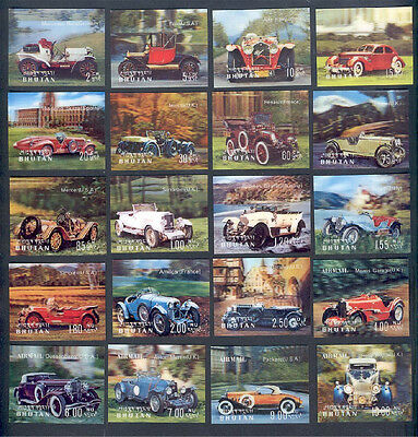 Oldtimer Automobiles, 3-D Stamps From Bhutan, Full Set!