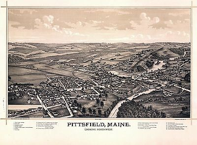 1889 PITTSFIELD antique MAINE map GENEALOGY atlas  poster SOMERSET county ME 16
