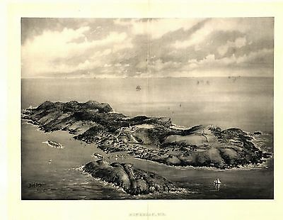 1896 MONHEGAN panoramic MAINE map GENEALOGY atlas  poster LINCOLN county ME 10