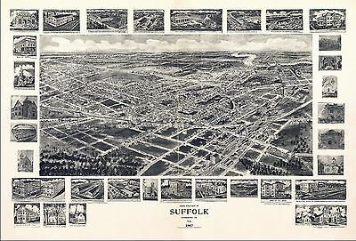 1907 SUFFOLK antique VIRGINIA map GENEALOGY atlas  poster HAMPTON ROADS  VA 19