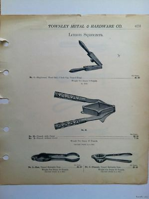 1890s Antique Can Openers Lemon Squeezers Hardware Catalog Sheet Print