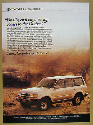 1991 Toyota Land Cruiser landcruiser color photo vintage print Ad