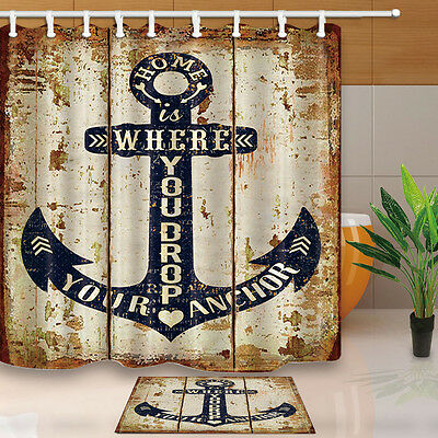 """71"""" Anchors and planks Waterproof polyester Shower Curtain with hooks Bathroom"""