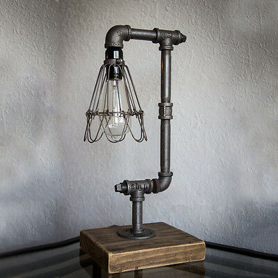 Iron Pipe Table Desk Lamp Light Retro Industrial Style Metal Wire Cage Shade