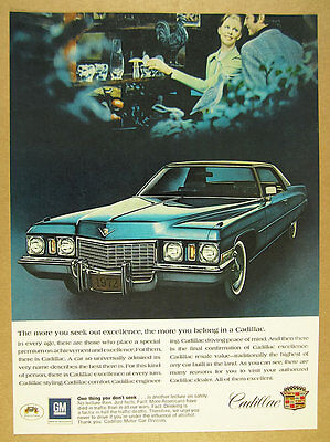 1972 Cadillac Coupe DeVille blue car photo vintage print Ad