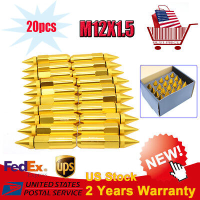 20PC M12X1.5 Cap Spiked Extended Tuner 60mm Aluminum Wheels Rims Lug Nuts GOLD
