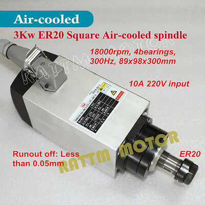 Square 3KW Air Cooled Spindle Motor ER20 220V 18000rpm 300Hz for CNC Router