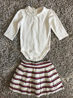 Janie And Jack Baby Girl Outfit. Size 3-6 Months. Bodysuit And Skirt. Nwt.