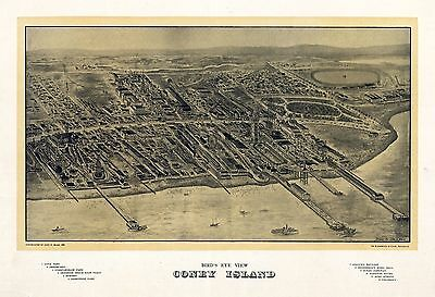 ny38 Antique old map NEW YORK NY genealogy family history CONEY ISLAND 1906