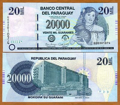 Paraguay, 20,000 (20000) Guaranies 2015 P-New Redesigned Serie G UNC