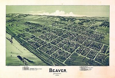 pa11 Antique old map PENNSYLVANIA genealogy family history BEAVER 1900