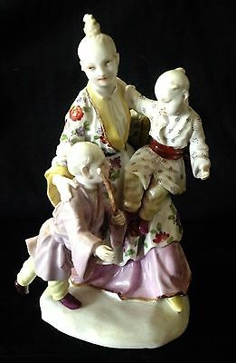 Awesome MEISSEN Porcelain 19thC Asian Woman with Children Figurine - Make Offer!