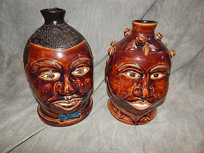 Pair of Black Americana Face Jugs by Winton-Rosa Eugene 2003/2004