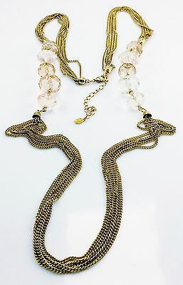 Vintage Designer Avon Long Faux Crystal Necklace Chains Gold Pink Peach Retired