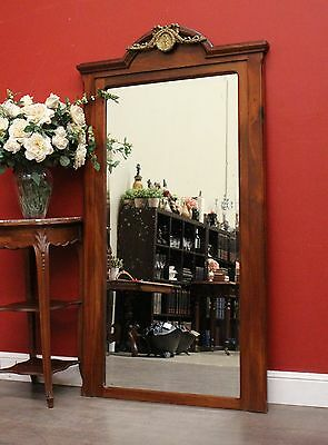 Antique French Walnut Empire Style Bevelled Edge Mirror Over Mantle Mirror c1922
