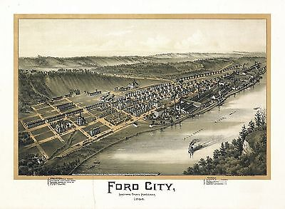 pa65 Antique old map PENNSYLVANIA genealogy family history FORD CITY 1896