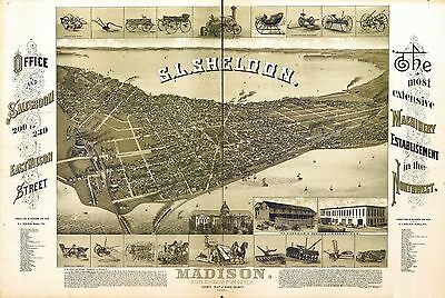 wi26 Antique old panoramic map WISCONSIN genealogy family history MADISON 1885