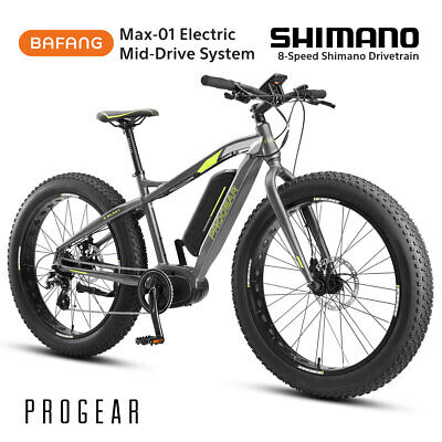 "PROGEAR E-BLAST EBIKE Electric Fat Bike 26""x18"" 9Speed Alloy PAS Bafang MidDrive"