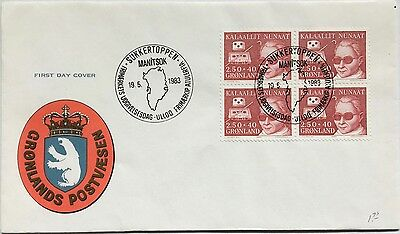 Greenland 1983 FDC cover Welfare of the Blind, block of 4 with cachet