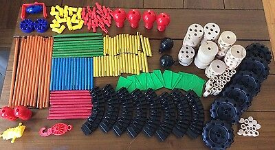 Lot of 200+ Classic Tinker Toys Tinkertoy Wooden Parts & Pieces